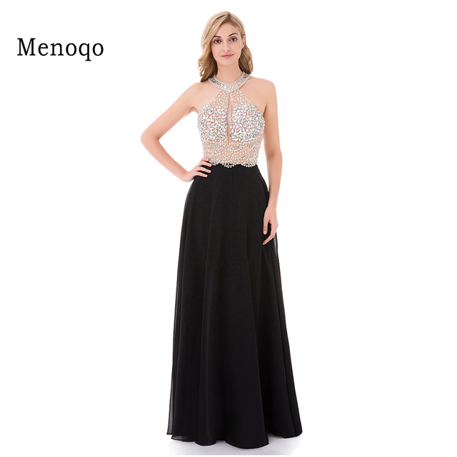 89da99486489 € 73.82 36% de DESCUENTO|9211 W Sexy A Line negro vestido de graduación  2019 largo Halter con cuentas sin espalda vestidos de fiesta Formal vestido  de ...