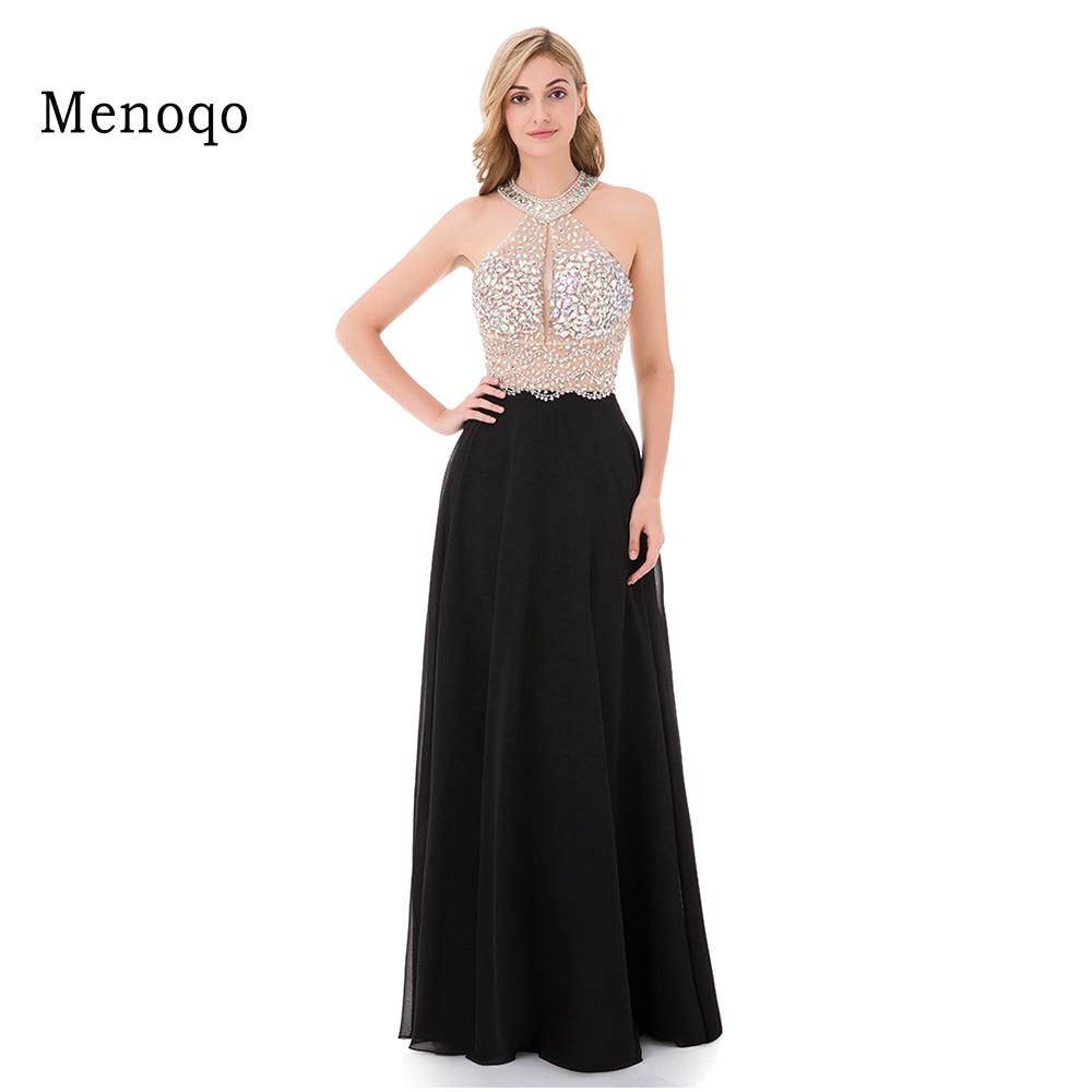 9211W Sexy A Line Black Prom Dress 2019 Long Halter Beaded Backless vestidos de fiesta Formal