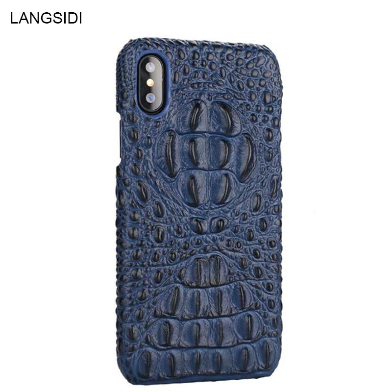 Genuine Leather shockproof phone case for iphone x xs xr 11 pro max Crocodile grain luxury back cover for Iphone 6 7 8plus 5 5s
