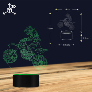 Image 4 - Dirt Bike 3D Illuminated Display Desk Lamp Motorcross Bike Modern Illusion Night Lights Gift For Freestyle Motorcross Bikers