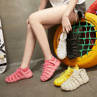 Hot Women White Chunky Sneakers Lace Up Flat Casual Shoes Air Mesh Female Shoes Detachable Socks Shoes Running Ladies Sandals