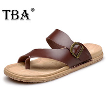 TBA Genuine Leather 2016 Cool Summer Beach Men's Sliders High Quality Fashion and Popular Designed Male Flip Flops 5965