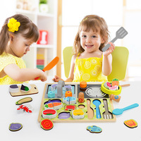 Wooden Puzzle Children Magnetic Vegetables Cut Fruits Toys Suit Girls Kitchen Cut To See The Family Cutlery Barbecue Set Toys