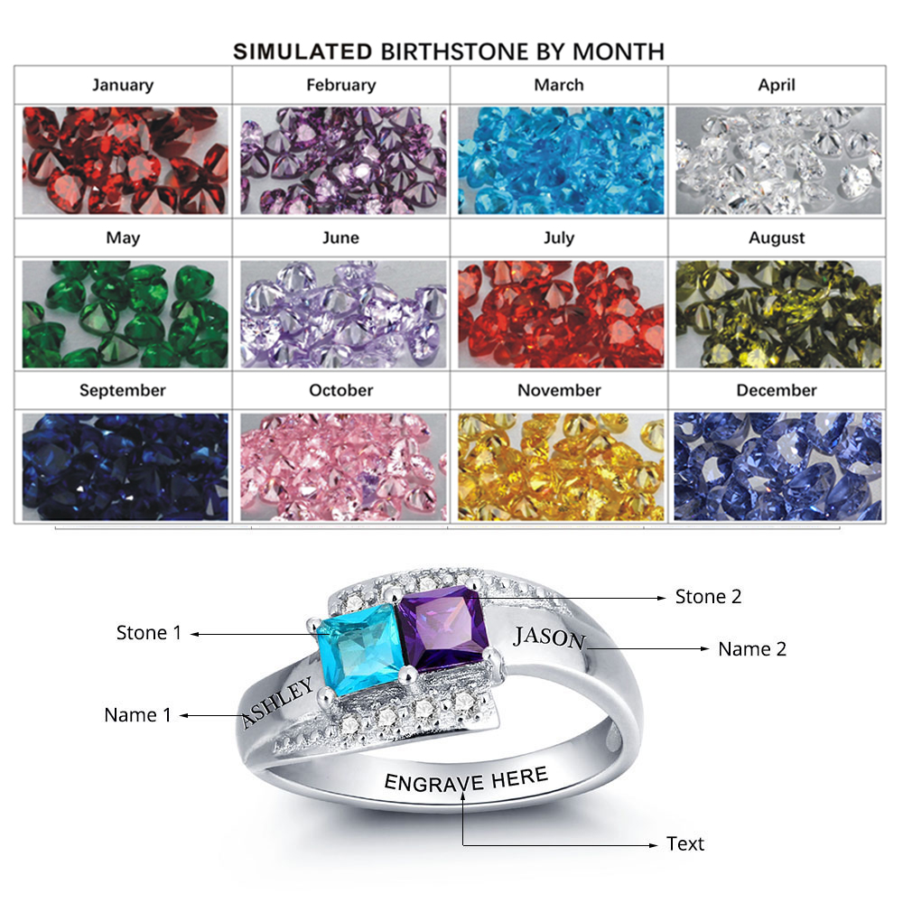 Personalized Birthstone Promise 925 Names Rings Couple in Silver ...