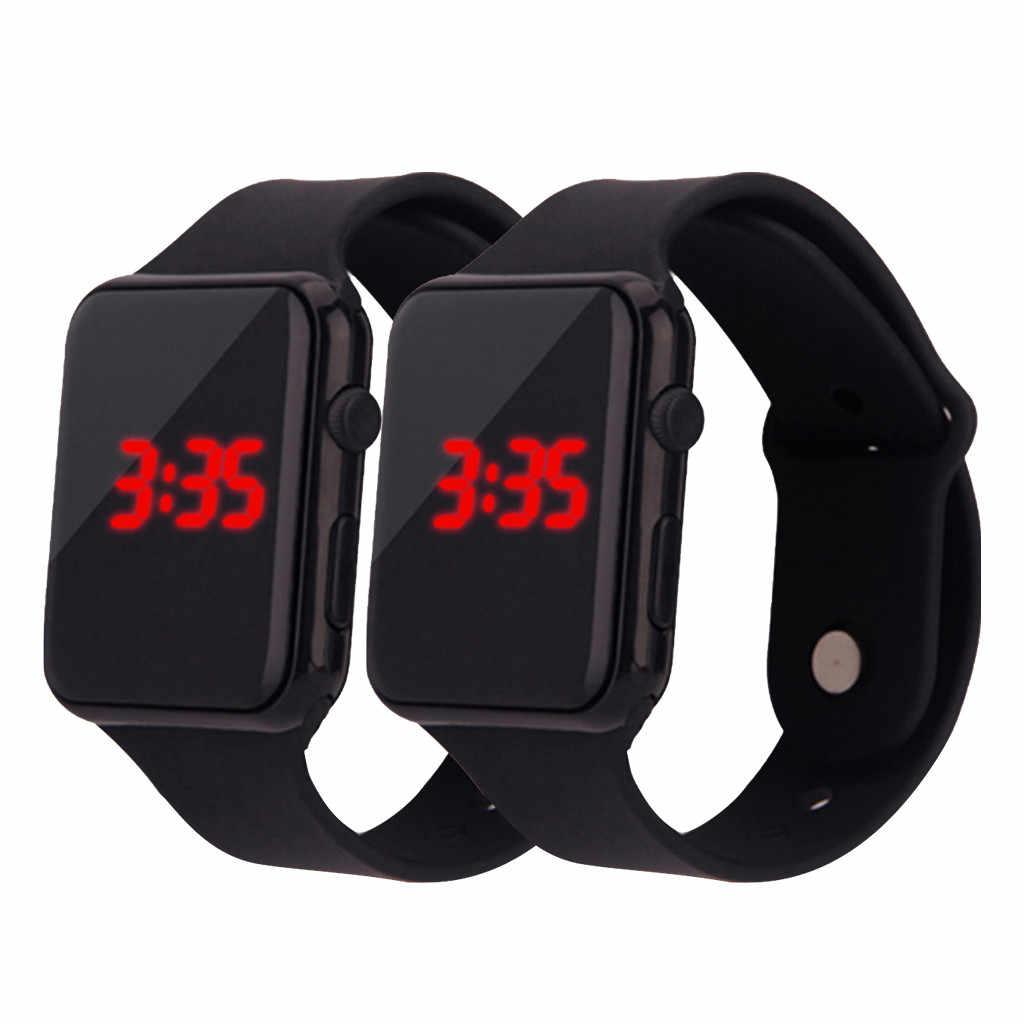 2 pcs Relógios Do Esporte Da Forma Simples Eletrônico Digital LED Relógio Das Mulheres Dos Homens Silicone Strap Relógio de Pulso Montre Reloj Relogio Relógio