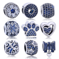 100 925 Sterling Silver Charms Sterling Silver Jewelry Pave Blue CZ Beads Fit Original Pandora Bracelet