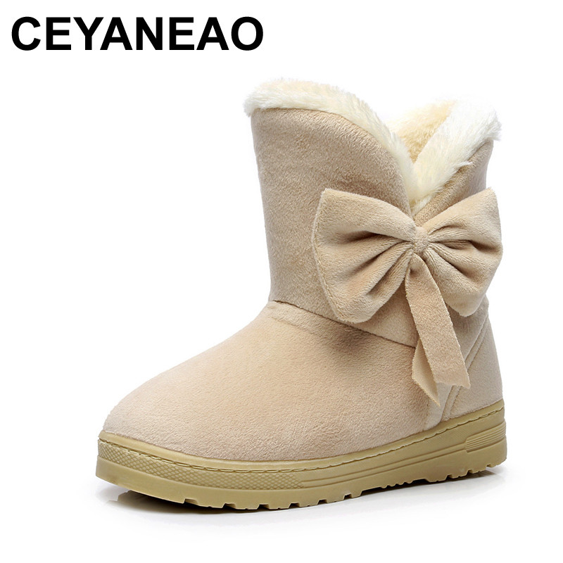 CEYANEAO Women's Shoes A-Buckle Flat-Soles Cute New Without Plain Soft Winter Bow