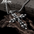 Skeleton Skull Cross Silver Plated Pendant Necklace  316L Stainless Steel Men Boy Jewelry Christmas Gift For Best Friends