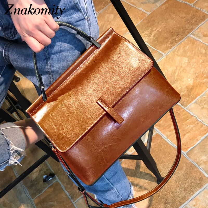 Znakomity vintage women messenger bags genuine leather handbag satchels female shoulder bag ladies top handle bag