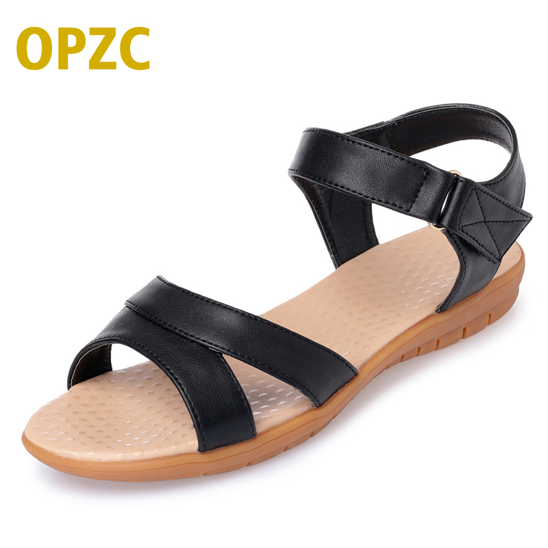 OPZC classical Gladiator Sandals Women Leather Flat Fashion Women Shoes Casual Occasions Comfortable sandals The Female Sandals 2018 summer gladiator thong sandals women aged leather flat fashion women shoes casual comfortable diamond female sandals b128