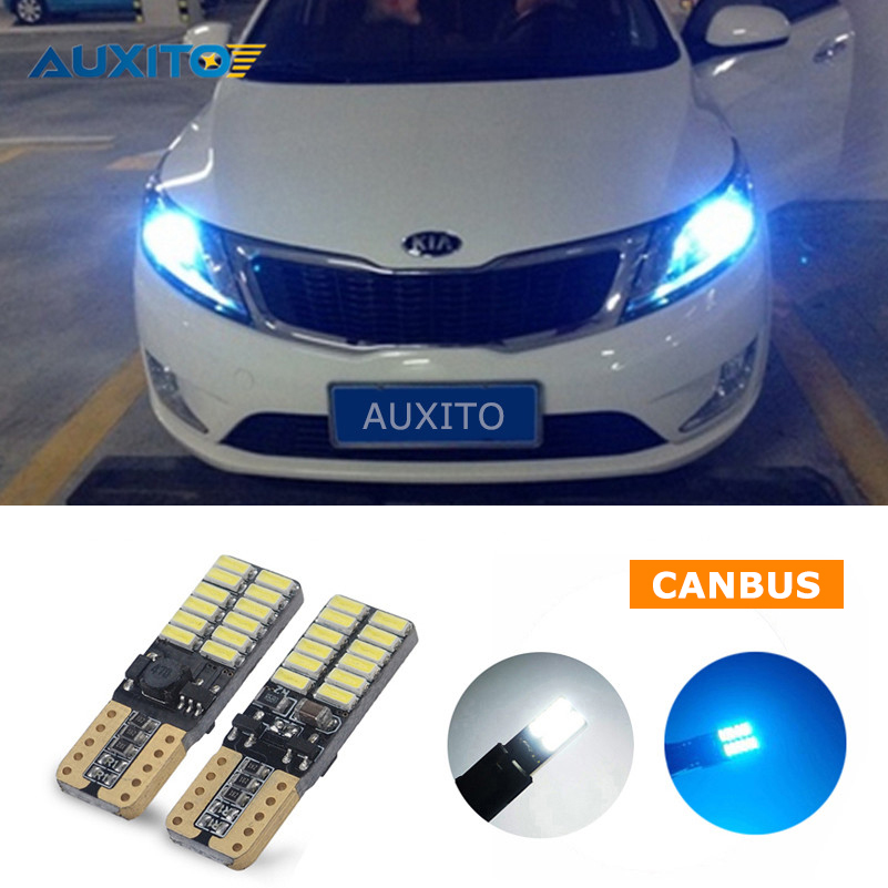 Canbus LED W5W T10 Car Parking Lamp Clearance Light For Kia Rio K2 Ceed Sportage Sorento Cerato Soul Picanto Optima K3 Spectra deechooll 2pcs wedge light for mazda 2 3 5 6 mx5 rx8 cx7 626 gf gg ge gw canbus t10 57smd 6w led clearance xenon lighting bulbs