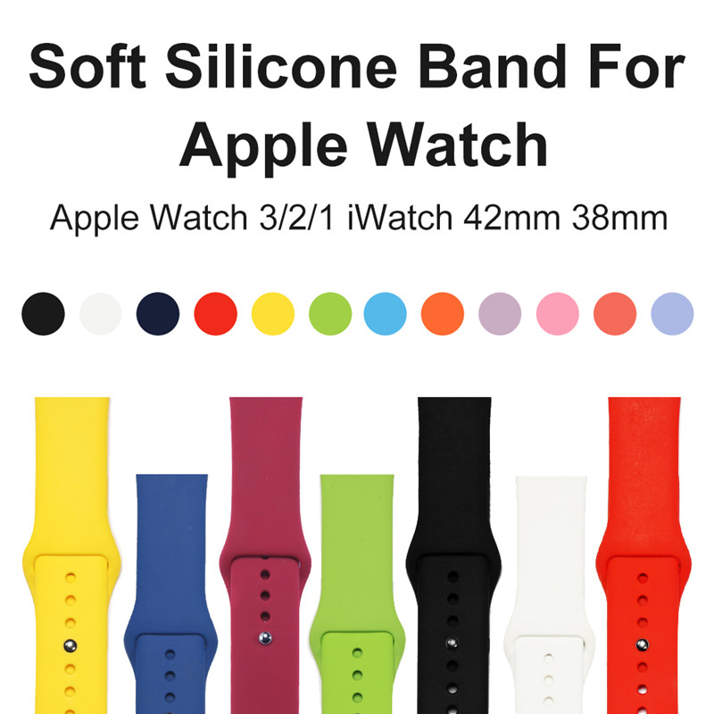 Colorful Sport Soft Silicone Band For Apple Watch Series1 2 3 38 /42mm Wrist Bracelet Strap For iWatch Edition Replacement Bands colorful soft silicone sport band for apple watch bands 42mm wrist bracelet strap for apple watch series 3 2 1 iwatch watchbands