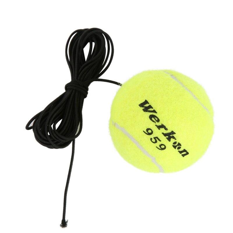 N  New Brand Elastic Rubber Band Tennis Balls Yellow Green Tennis Training Belt Line Training Ball To Improve Your Skills