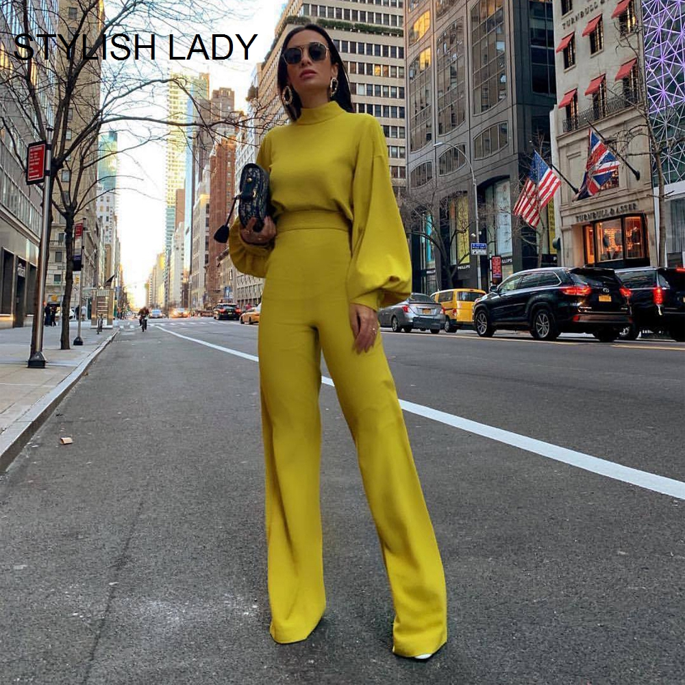 STYLISH LADY Wide Leg OL Rompers And Jumpsuits 2019 Women Lantern Sleeve High Neck Elegant Bodycon Office Workwear Overalls