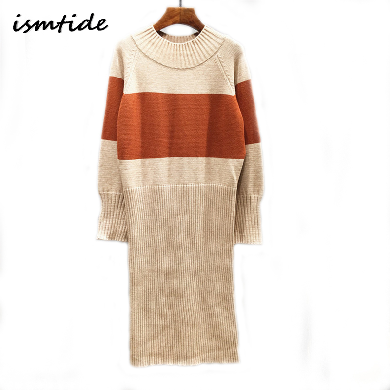 Knitted Long Sweater Dress Wool Women Autumn Winter Sweater Dress Pullovers O Neck Casual Knitted Dresses Thick Knitwear Sweater girl sweater dress superfine wool knitted dress 2015 o neck pocket long sweater tassels christmas children clothing kids dresses