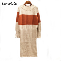 Knitted Long Sweater Dress Wool Women Autumn Winter Sweater Dress Pullovers O Neck Casual Knitted Dresses Thick Knitwear Sweater