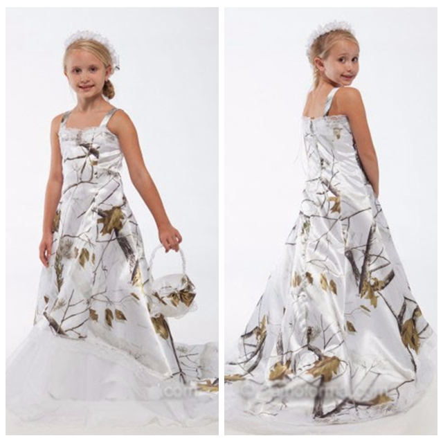 Beautiful Spaghetti A Line White Camo Flower Girls Dress Lace
