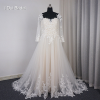 Plus Size Wedding Dress With Three Quarter Sleeve Illusion Back A Line Tulle Lace Champagne Lining