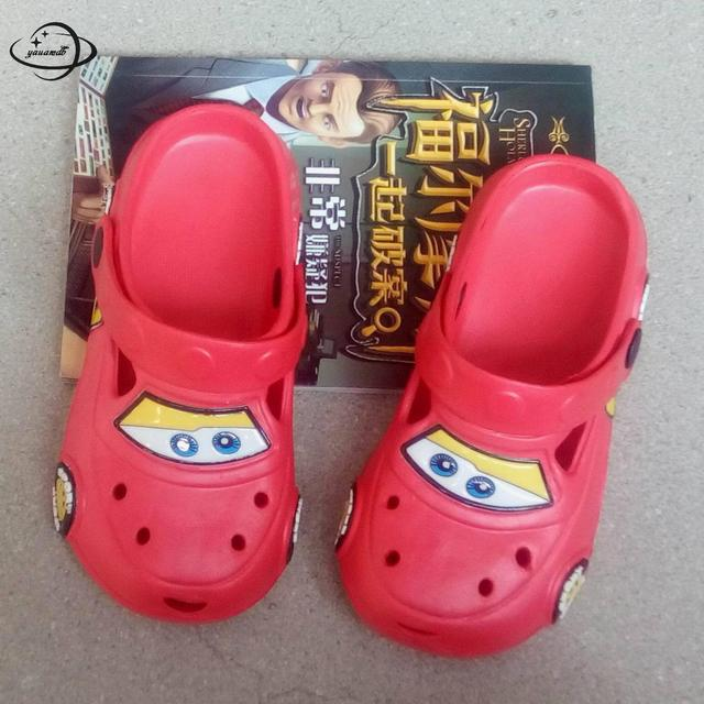556fe4999745f8 YAUAMDB kids mules   clogs summer boys girls flat sandals cartoon car  breathable baby soft bottom toddler children shoes ly17