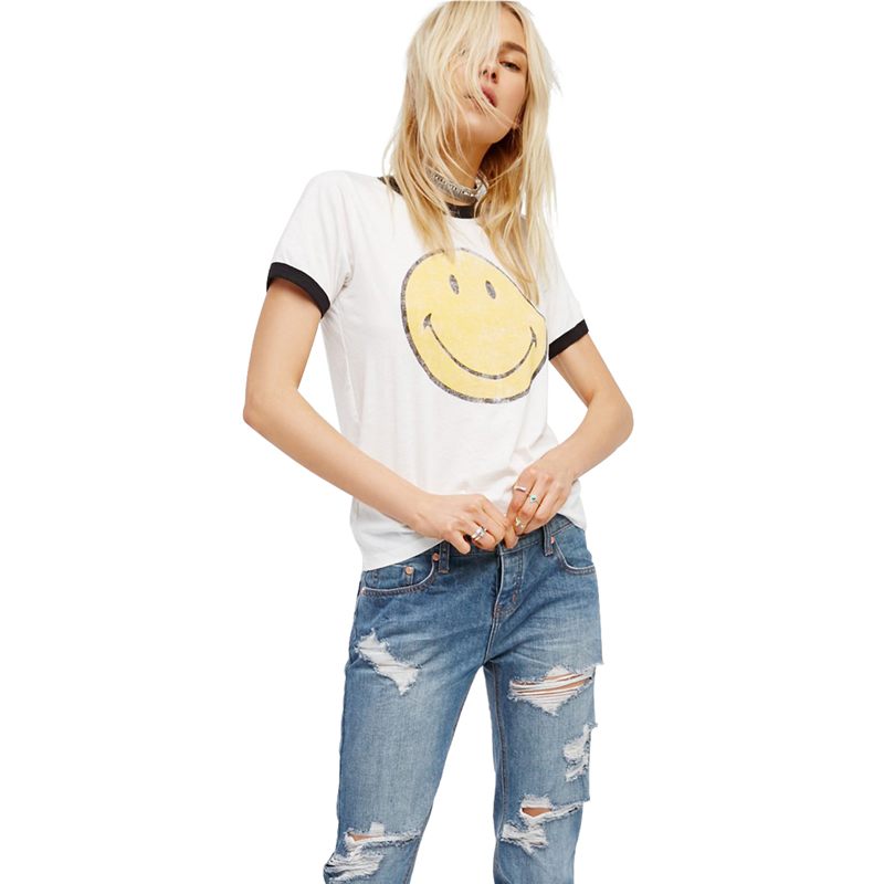 Emoji Women T Shirt Summer Vogue Camisetas Mujer Vintage Funny Tops Friends Kawaii Bts Harajuku White Tee Plus Size Clothing