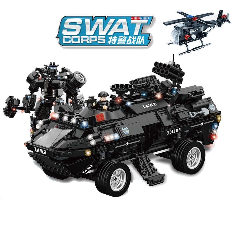 1044 stücke kinder pädagogisches bausteine spielzeug Kompatibel Legoingly stadt Robotic rüstung Raptors amphibien gepanzerte fahrzeug-in Sperren aus Spielzeug und Hobbys bei  Gruppe 1