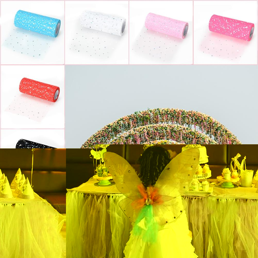 Lanlan 6inch *900inch Laser Sheet Gauze Roll Tulle with Laser Flashing Slices for Skirt Furniture Decoration