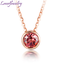 Elegant Ladies Pink Tourmaline Pendant Necklace 14K Rose Gold Fine Jewelry Wholesale for Girl Birthday Gift