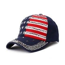 Hiking Cap Sparkle Rhinestone Decorative US Flag Printed Hat Headwear Adjustable Back Closure USA President Election Pattern