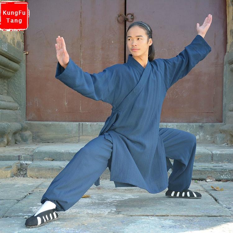 Chinese wudang Taoist kung fu clothes men tai chi uniform shaolin Buddhist monk robes martial arts kungfu clothing tops+pants tai chi uniform clothing qi gong martial arts wing chun shaolin kung fu taekwondo cloths apparel pants clothing for men women