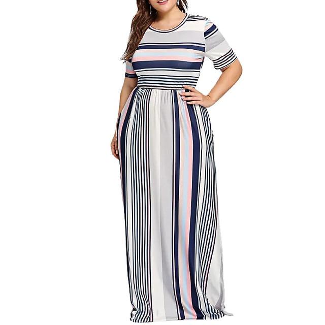 3d283eec19 Moda Womens Casual Plus Size Listrado Impresso O-pescoço Manga Curta Vestido  Longo Roupas Baratas
