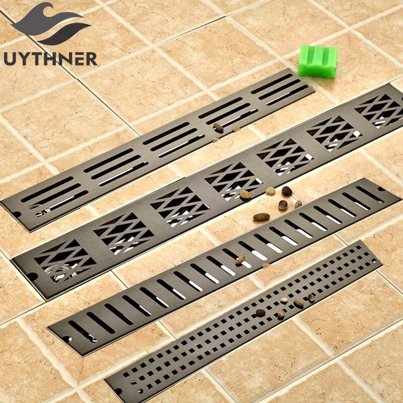 卸売と小売 70*10 センチメートル Ti ブラック仕上げ浴室のシャワールームの床ドレン脱臭廃液  グループ上の 家のリフォーム からの 排水 の中 1