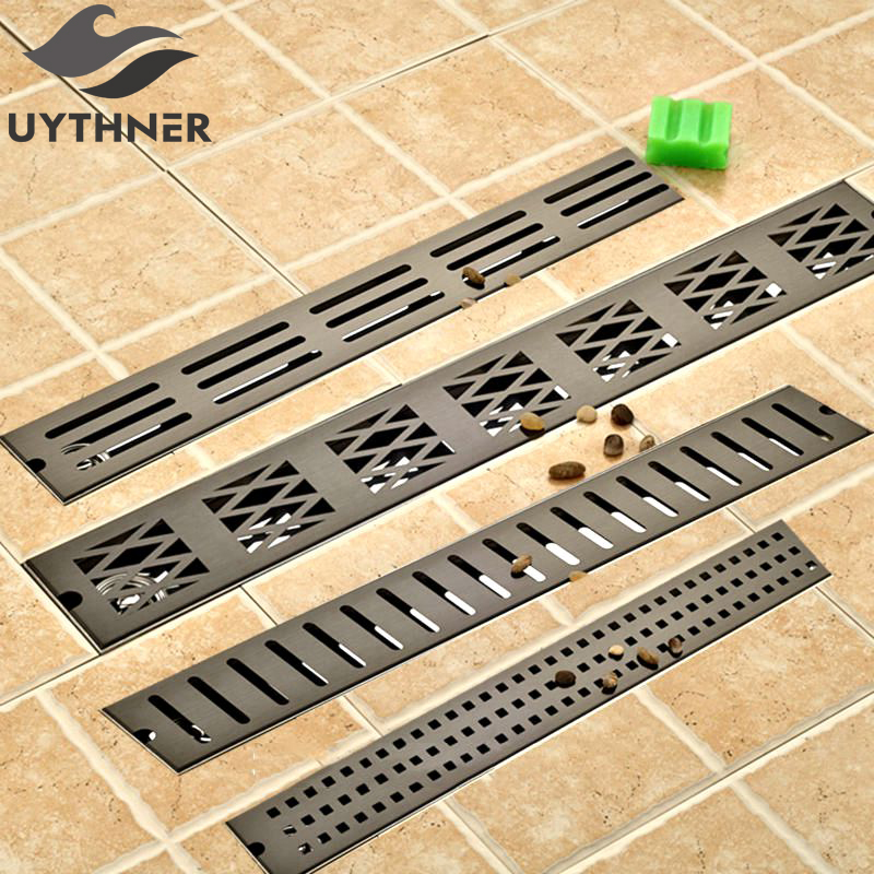 Wholesale and Retail 70*10 cm Oil Rubbed Bronze Finish Bathroom Shower Room Floor Drain Deodorization Waste Drain modern 90 10 cm oil rubbed bronze style deodorization grate waste floor drain floor mounted