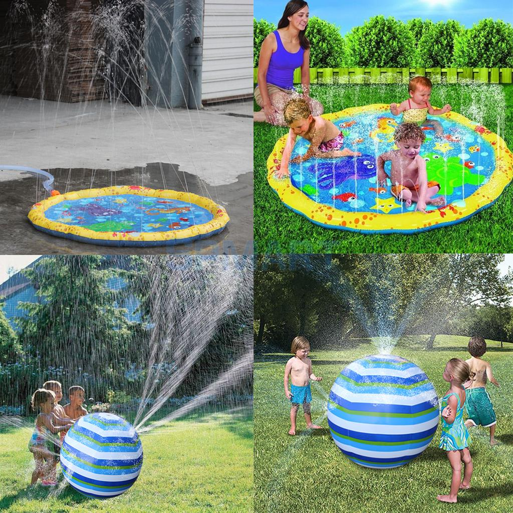 Cool Summer Kids Baby Family Inflatable Splash Water Mat & Ball Pool Beach Pad Outdoor Toy Sprinkler Games