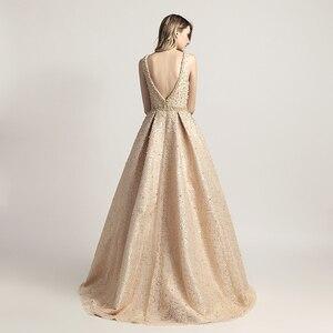 Image 2 - יוקרה ערב שמלות ארוך דובאי ערבית קו פנינה ללא משענת באורך רצפת שמלות המפלגה ללא שרוולים פורמליות Robe De Soiree LSX442