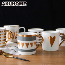 2 PCS OR 4 Golden Ceramic Mug Porcelain Coffee China Bone Milk Cup Love Heart Stripe AKUHOME