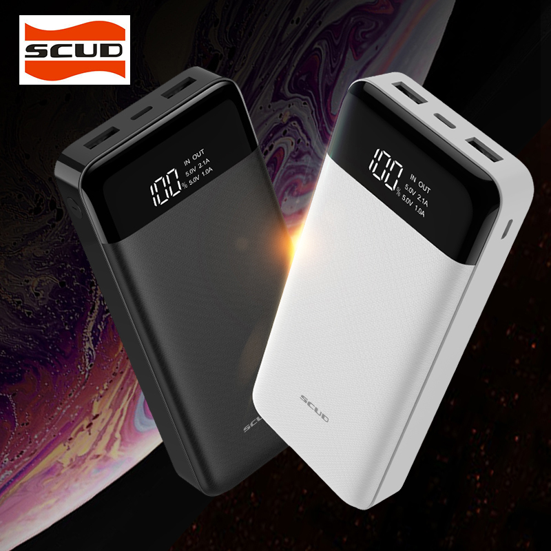 SCUD 20000mAh External Battery Charger Portable Powerbank 20000 Poverbank External Battery Pack Charger for Xiaomi Mi iphoneOPPO in Power Bank from Cellphones Telecommunications