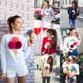 2016 Autumn Casual Women Pullover Sweatshirt 3D Ice Cream Pom Cartton Red Harajuku Felpe Donna Women print sweatshirt