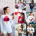 2016 Autumn Casual Women Pullover Sweatshirt 3D Ice Cream Pom Cartton Red Harajuku Felpe Donna Women print sweatshirt