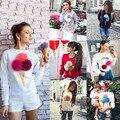 2016 Outono Mulheres Casuais Pullover Camisola 3D Harajuku Sorvete Pom Cartton Vermelho Felpe Donna Mulheres impressão moletom