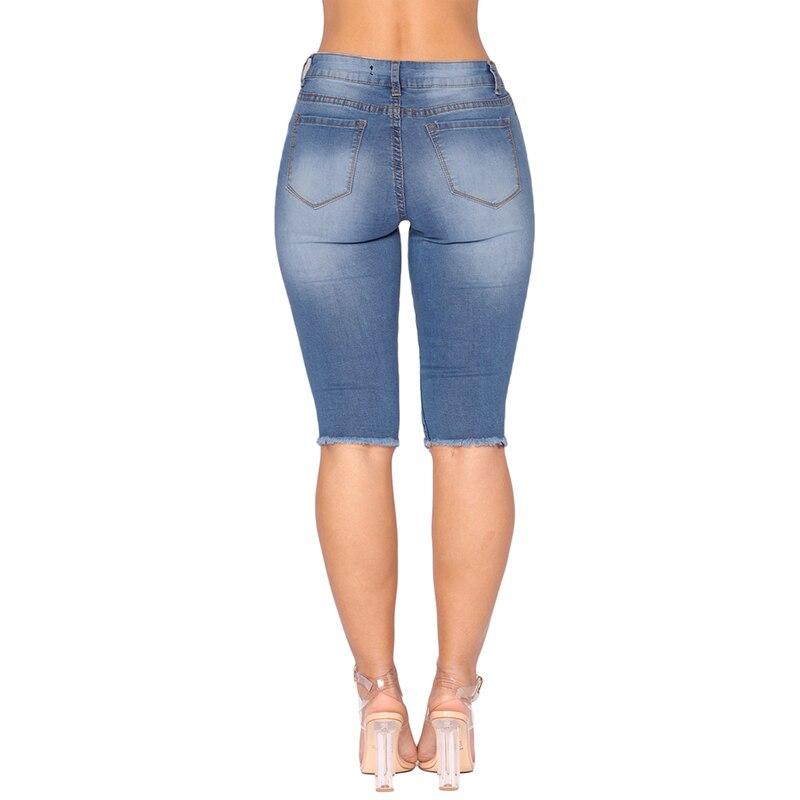 14801da243534 New Women Deep Blue Wash Denim Destroyed Bermuda Shorts with Broken Hole  High Waist Skinny Jeans Knee Length Shorts Feminino