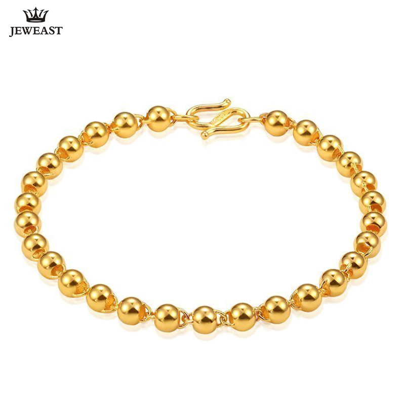 24K Pure Gold Bracelet Real 999 Solid Gold Bangle Smart Elegant Smooth Beads Trendy Classic Party Fine Jewelry Hot Sell New 2018 24k pure gold bracelet real 999 solid gold bangle elasticity no deformation trendy classic party fine jewelry hot sell new 2018