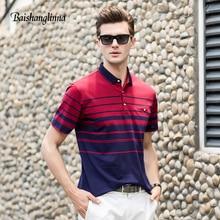 Baishanglinna 2018 musim panas lelaki baju polo kasual kapas bernafas baju polo berjalur lengan pendek Slim Polo Lelaki Plus saiz S-4XL