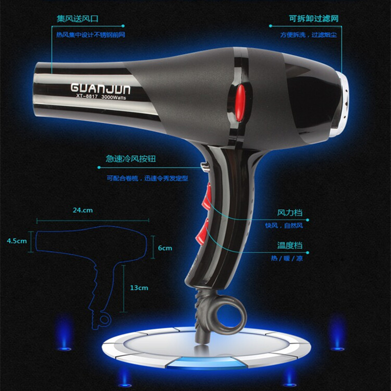 TBDX51-XT-8817,Professional hair dryer hair dryer cylinder high power 3000w negative ion ventilation fan