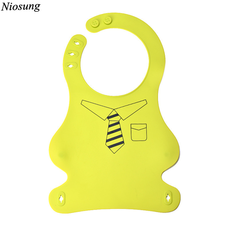 Niosung Cute Cartoon Silicone Waterproof Baby Bibs Super Soft Infant Feeding Bibs New Baby Bib Accessoire