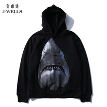 Animal 3D Hooded Sweatshirt Men Big white shark Keep warm Printed Mens Hoodies and Sweatshirts Hip Hop Style Casual Sweat Homme