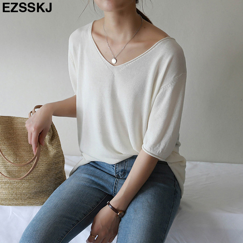 2019 summer knit oversized t-shirt for women v-neck big top girls casual t shirt basic pullover female short sleeve solid