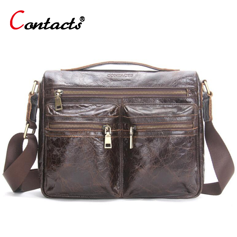 CONTACT'S Genuine Leather Men's Bag Male Handbags Shoulder Crossbody Messenger Bag Designer Laptop Notebook Briefcase Casual New