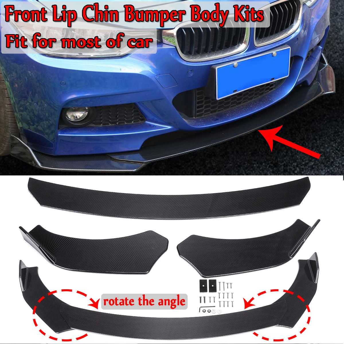 3 Piece Universal Car Front Lip Chin Bumper Splitter Diffuser Spoiler Body Kits For Honda For Audi For Benz For Bmw For Subaru Aliexpress
