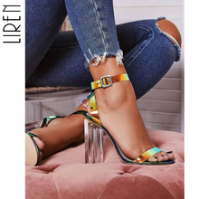 купить 2019 Summer PVC Clear Transparent High Heels Shoes Women Sandals Peep Toe Sexy Party Female Ladies Shoes Woman Sandalias Size 42 по цене 1719.2 рублей
