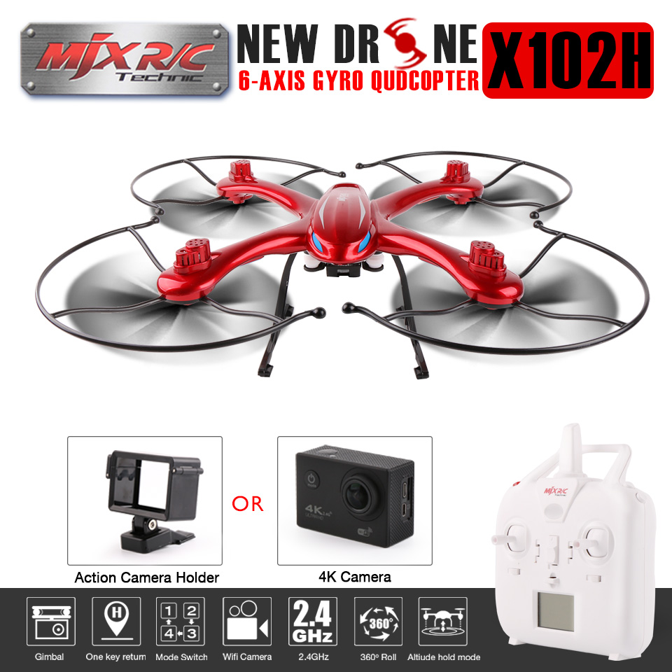 Newest MJX X102H FPV RC Quadcopter Drone With 1080P 14MP HD Camera Helicopters Height Hold One Key Return RC Drone VS MJX X101 mjx x102h rc drone quadcopter with profession c4018 c4015 wifi fpv hd camera one key return remote control helicopter toys